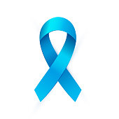 Realistic Blue ribbon to Prostate Cancer Awareness Month. Bright medical banner, 3d tape preventing the male prostate disease. Vector illustration EPS 10 file.