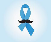 Prostate cancer ribbon awareness with mustache vector.