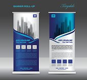 Blue Roll up banner template vector, flyer, advertisement, x-banner, poster, pull up design, display, layout vector illustration