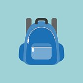 blue rucksack or backpack illustration, flat design