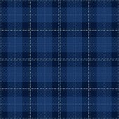 Blue seamless tartan plaid textile design.