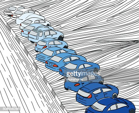 Blue shade cars parking in parking zone outline hand draw : Vector Art