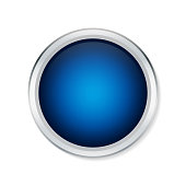 Blue shiny button with metallic elements isolated on white background