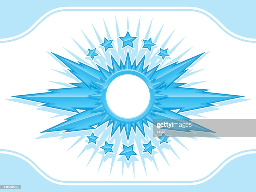 blue shiny coat of arms with stars : Vector Art