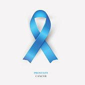 Blue Silk Ribbon - Prostate Cancer Awareness. Concept World Prostate Cancer Day. Vector Illustration