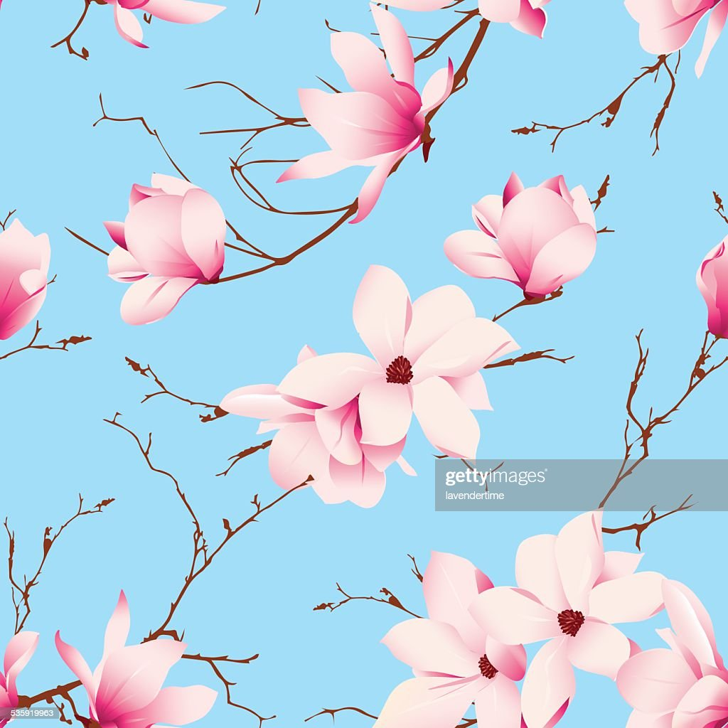 Blue skies and magnolia flowers seamless vector pattern : Vector Art