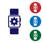 Blue Smartwatch setting icon isolated on white background. Smart watch settings. Set color icon in circle buttons. Vector Illustration