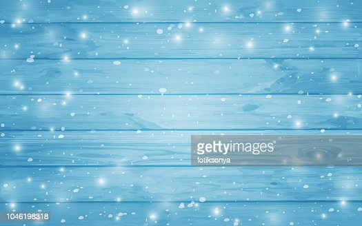 Blue snow-covered wooden background. Winter. Snowstorm. Snowfall. Christmas wood background. Night and snowflakes on the background of boards. : Vector Art