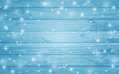 Wooden texture background. Vector illustration of blue wood plank wall. Snowflakes on a wooden background. Christmas background. Night. Vector ilustration.Eps 10.