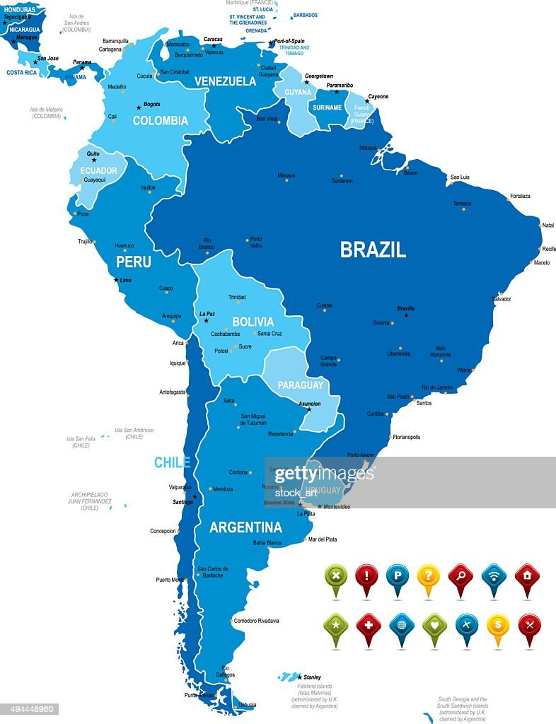 Blue South America Map Vector Art Getty Images