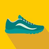 Blue sport shoes icon in flat style on a yellow background