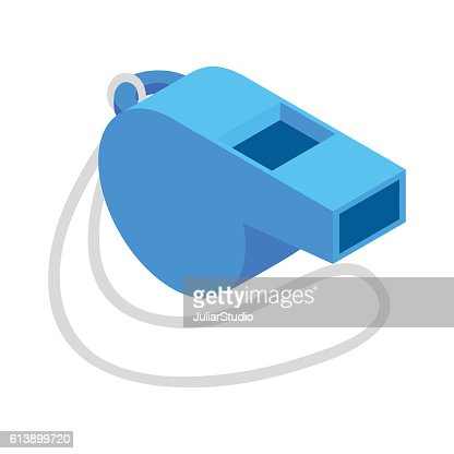 Blue sport whistle on a white cord isometric icon : stock vector