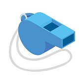 Blue sport whistle on a white cord isometric 3d icon on a white background