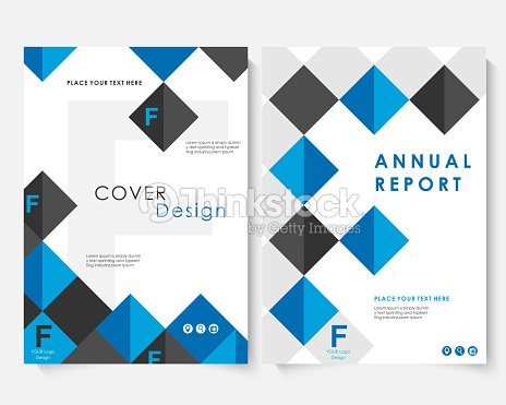 blue square annual report cover design template vector brochure