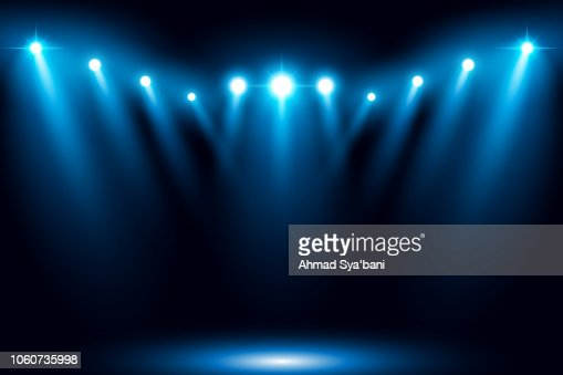 Blue stage arena lighting background with spotlight : Vector Art