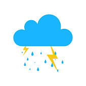 Blue Storm rain icon isolated on background. Modern simple flat sign. Business, internet weather concept. Trendy Simple vector symbol for web site design or button to mobile app. Logo illustration