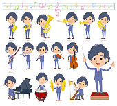 A set of businessman on classical music performances.There are actions to play various instruments such as string instruments and wind instruments.It's vector art so it's easy to edit.