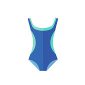 Blue swimsuit icon on the white background. Vector illustration.