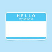 Blue blank name tag sticker HELLO my name is. Rounded rectangular badge with gray drop shadow on color background. Vector illustration clip-art element for design in 10 eps