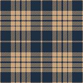 Blue and beige seamless traditional tartan plaid pattern design.