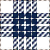 Blue and white seamless traditional tartan plaid pattern design.