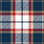 Blue, red, beige and white seamless traditional tartan plaid pattern design.