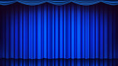 Blue Theater Curtain Vector. Theater, Opera Or Cinema Closed Scene. Realistic Blue Drapes Illustration