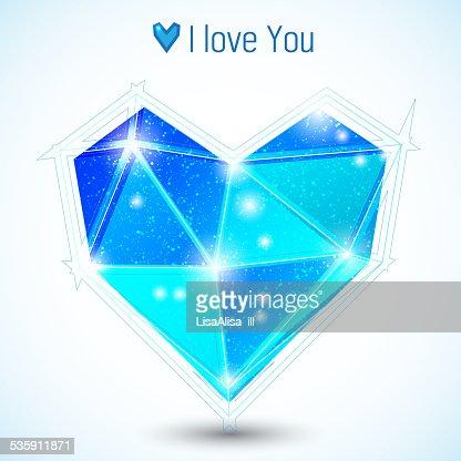 Azul triangle corazón : Arte vectorial