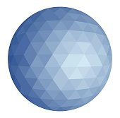 Abstract low poly triangulation sphere. Flat vector cartoon illustration. Objects isolated on a white background.