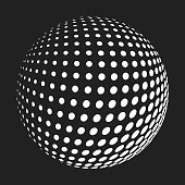 Abstract halftone sphere. Flat vector cartoon illustration. Objects isolated on a white background.