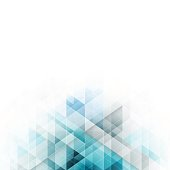 Blue triangles design. Abstract vector background with geometric technology pattern and stripe for your title or headline.