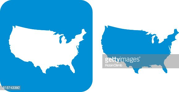 Blue United States Icons Vector Art Getty Images - Us map icon