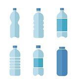 Blue vector flat design icons set of plastic bottles with clean water isolated on white background.