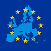 Blue vector map of European Union combined with 12 yellow stars of EU flag.