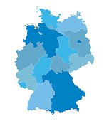 blue vector map of Germany (all federal states on separate layers)