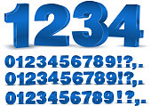 Four set of blue colored 3d vector numbers, from 0 to 9