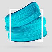 Blue vector paint brush smear on gray background. Template female girly emblem design