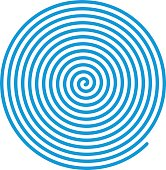Spiral vector backgrounds. Blue spiral, concentric lines, circular, rotating design element