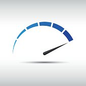 Blue vector tachometer,  speedometer icon, performance measurement symbol