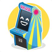 Smiling Face Blue Vintage Arcade Machine Game Illustration, Waiting some Coin to Play It
