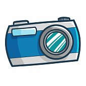 Cute and funny blue vintage camera for your holiday - vector.