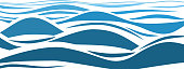 Blue water sea waves abstract vector background. Water wave curve background, line ocean banner illustration