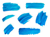 Blue watercolor brush strokes. Vector abstract isolated hand drawn objects for design, place for text.