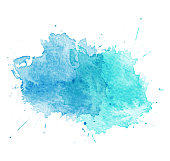 Blue Watercolor splatters. Vector illustration. EPS 10
