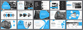 Blue, white and black infographic elements for presentation slide templates. Business and research concept can be used for annual report, advertising, flyer layout and banner.