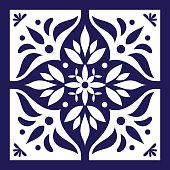 Blue white tile vector. Delft dutch or portugal tiles pattern with indigo and white ornaments.
