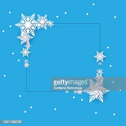 Blue winter background with snowflakes. Christmas decoration. : stock vector