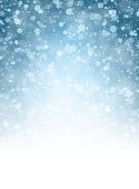 Blue shining winter background with snowflakes pattern. Vector illustration.
