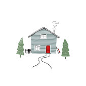winter illustration with a blue wooden house in minimalistic style