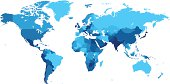 Detailed map of the World with countries in blue colors. Vector illustration. Please see also: